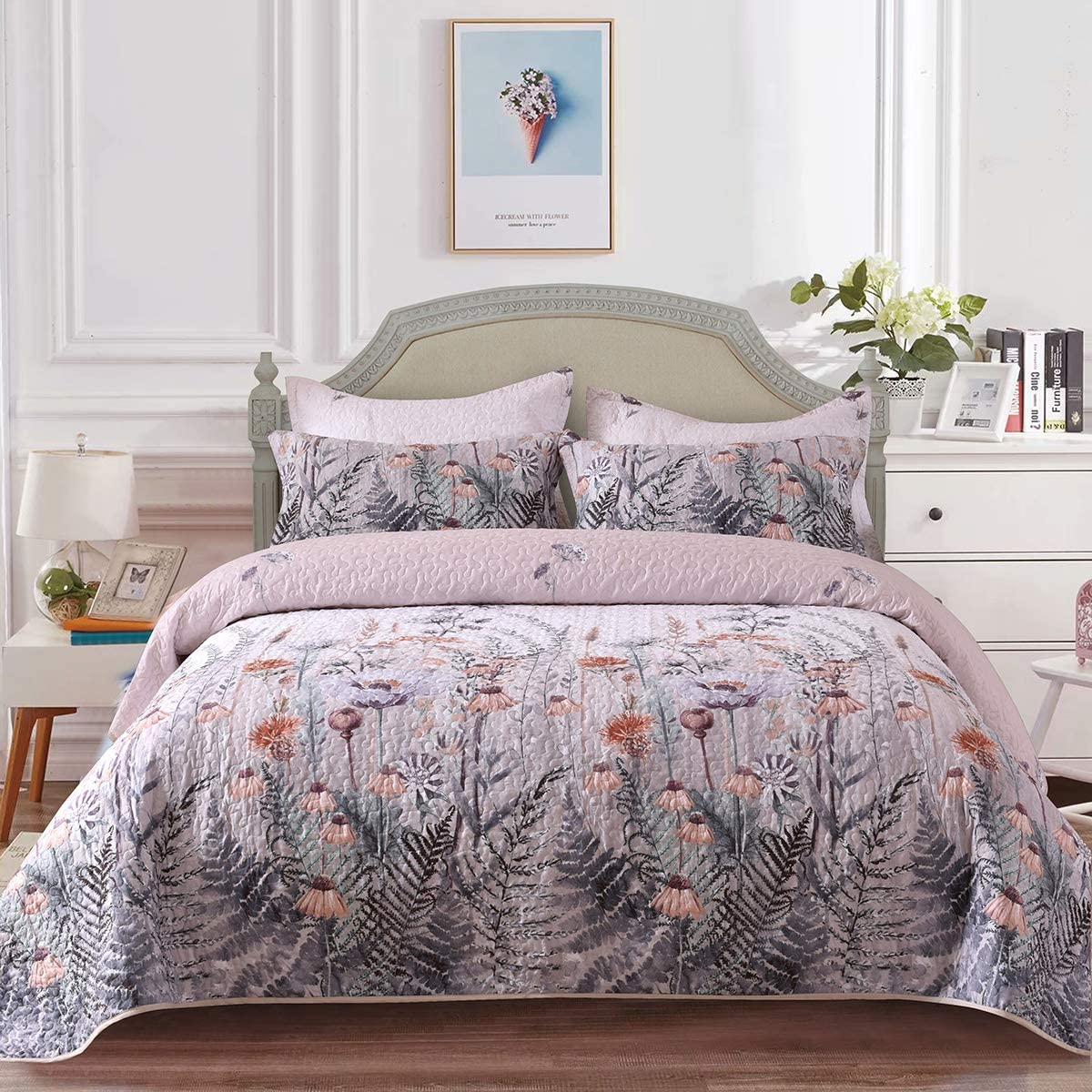"""Mefinia Floral Lightweight Quilt Set 90""""x96"""",Quilted Bedspreads Coverlet, Flower Printed Comforter Bedding Cover"""