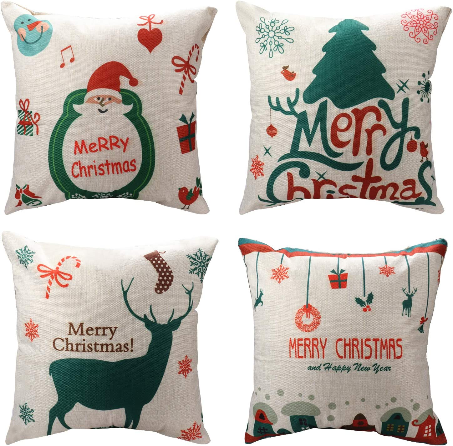 Playful White Christmas Decorative Throw Pillow Covers
