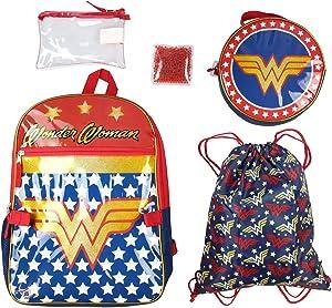 DC Comics Wonder Woman Backpack Lunch Bag Pencil Case Drawstring Sportpack 5pc Set