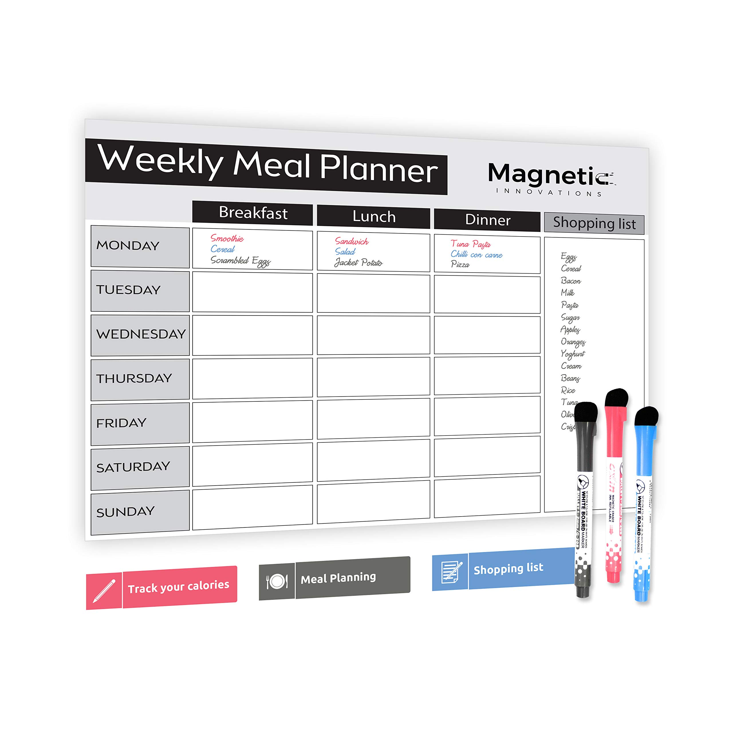 A3 A4 MEAL DIET PLANNER Dry Wipe Magnetic Fridge Whiteboard Board Diary Prep Use