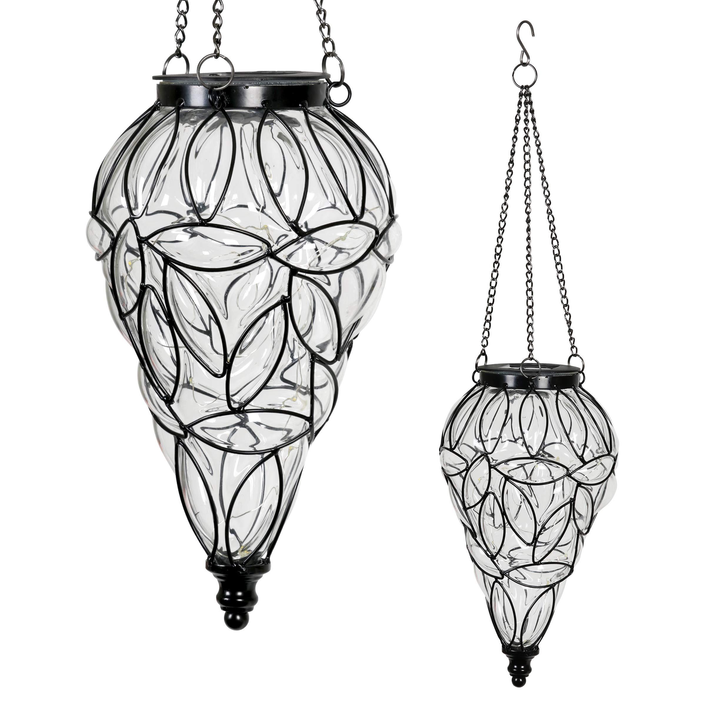 Exhart Clear Solar Lantern - Glass Tear-Shaped Hanging Lantern - Teardrop Glass Ceiling Lantern Hangs in a Metal Cage w/ 12 Blue LED Firefly Solar Lights 7'' L x 7'' W x 24'' H