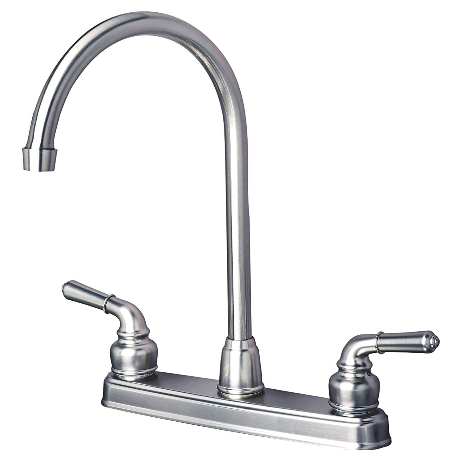 Builders Shoppe 1201SS RV Mobile Home Non-Metallic High Arc Swivel Kitchen Sink Faucet Brushed Nickel Finish