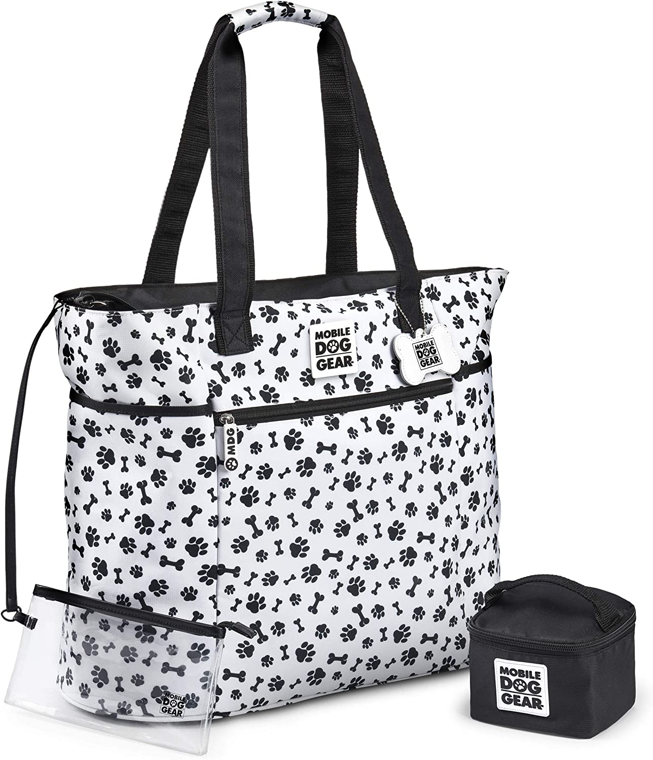 Mobile Dog Gear, Dogssentials Dog Tote Travel Bag, Carry Items for Both You and Your Dog, Includes Lined Food Carrier and Clear Wristlet Pouch, White/Black Paw Bone Print