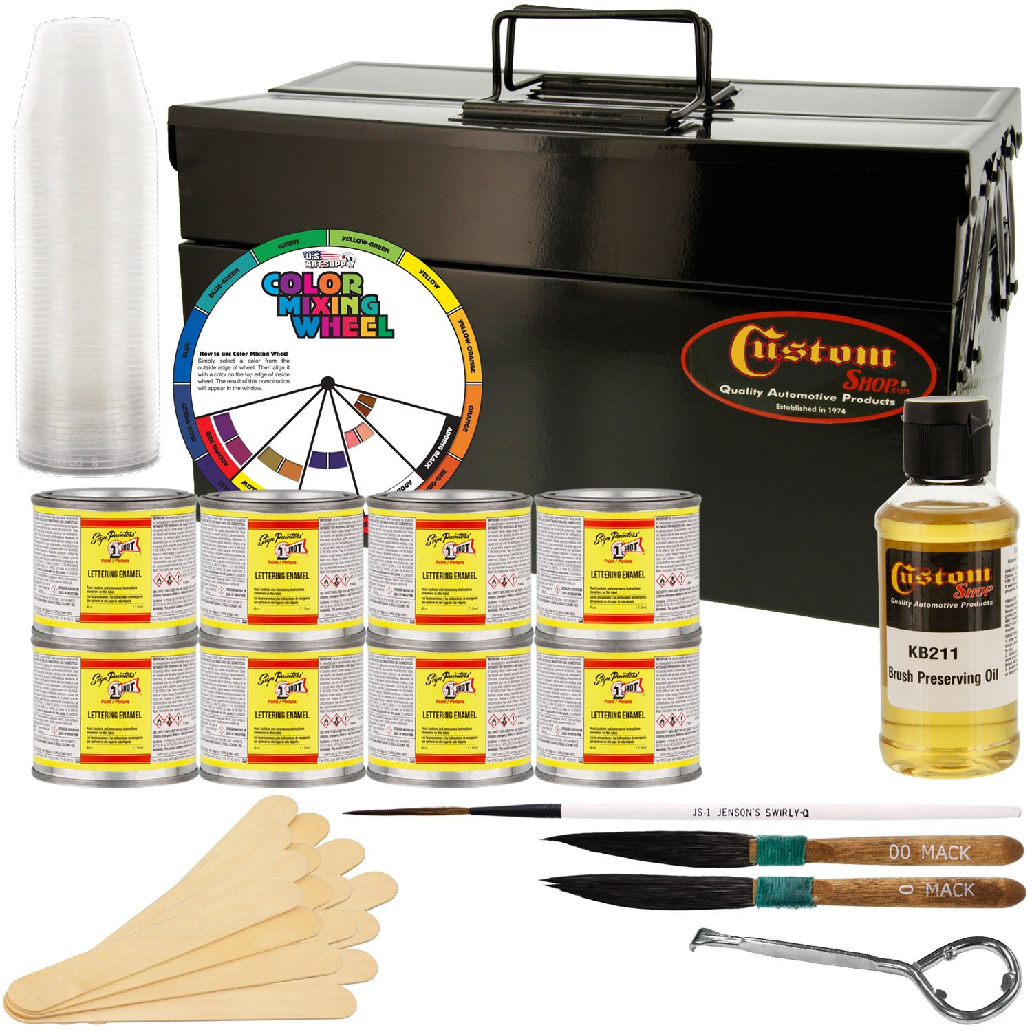 One Shot Automotive Complete Striper Pinstriping Starter Kit - 8 Colors by One Shot