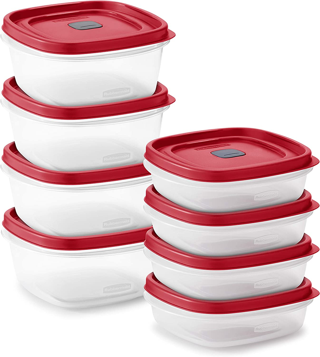 Rubbermaid 2108392 Easy Find Vented Lids Food Storage, Set of 8 (16 Pieces Total) Plastic Meal Prep Containers, 8-Pack, Racer Red