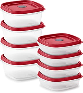 product image for Rubbermaid Easy Find Vented Lids Food Storage, Set of 8 (16 Pieces Total) Plastic Meal Prep Containers, 8-Pack, Racer Red