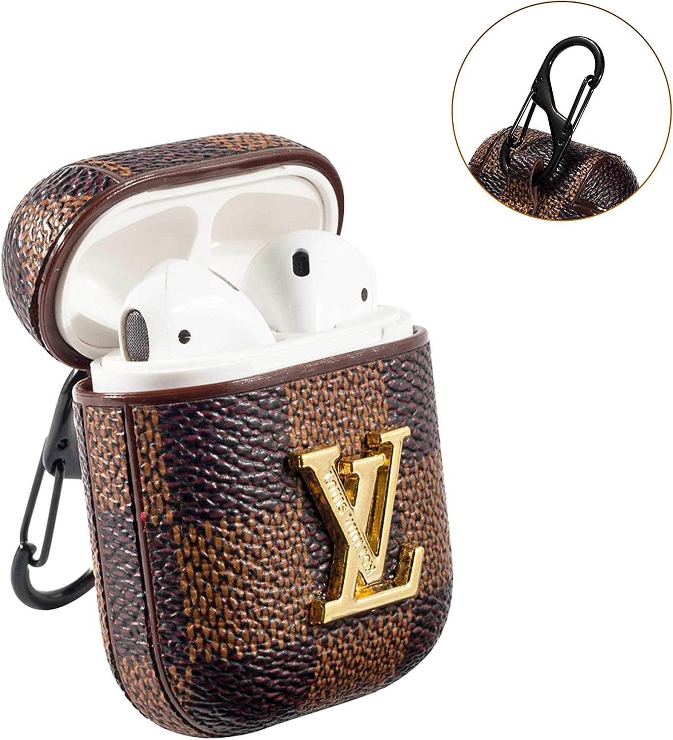 for App le Air pods 1 and 2 Air pods Case Cover Brown Big Logo Stylish,New Luxury Designer PU Leather Fashion Graphic Style,Suitable for Earphone Case Holster,