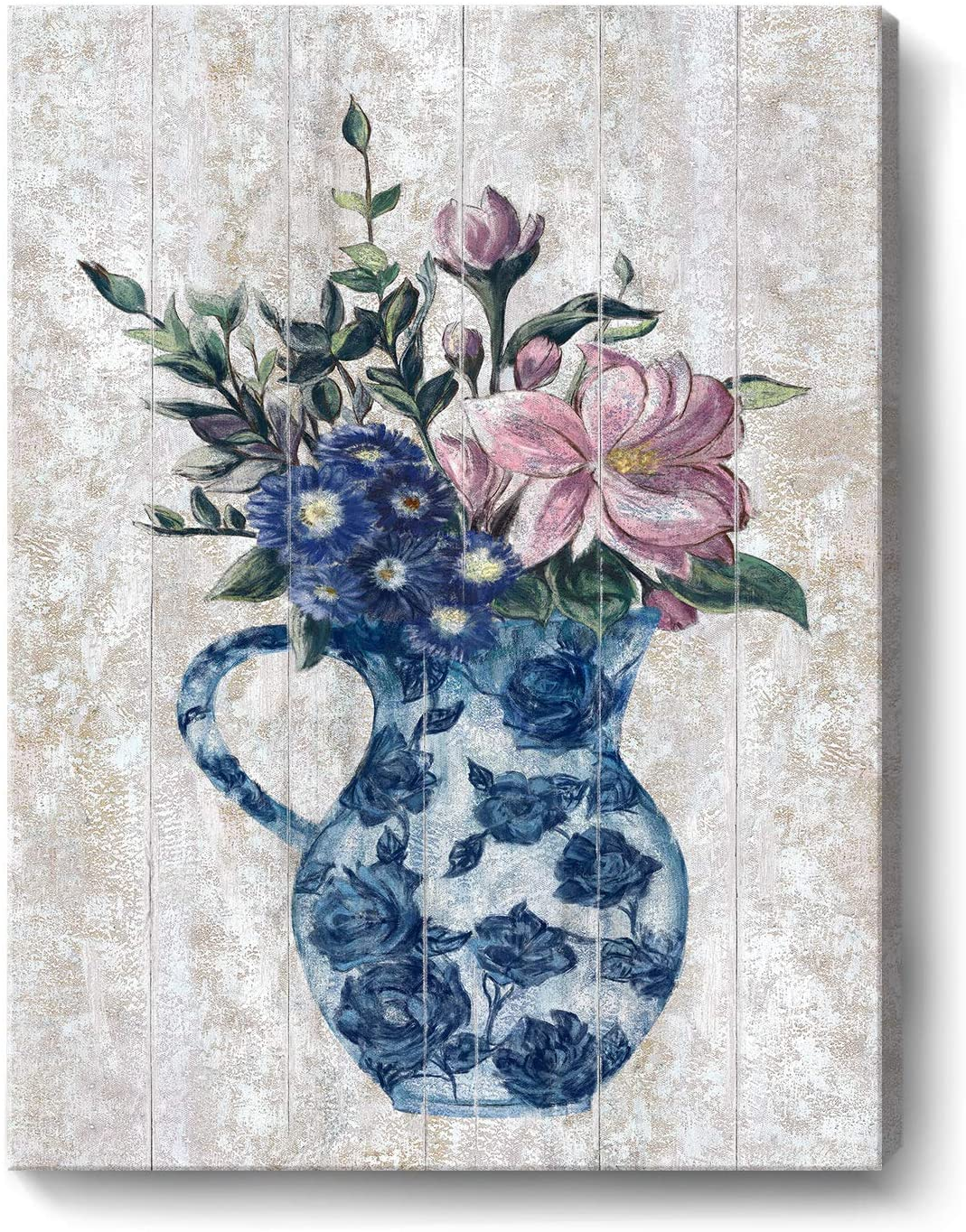 Bathroom Decor Wall Art Floral Canvas Print Modern Framed Flower Vase Picture Botanical Artwork Wood Background for Home Kitchen Bedroom Girl Room Farmhouse Blue and Pink Ready to Hang 12x16inch