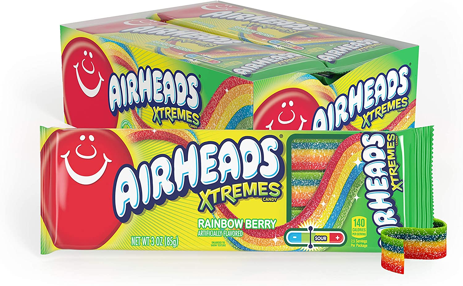 Airheads Xtremes Belts Sweetly Sour Candy, Halloween Treat, Rainbow Berry, Non Melting, Bulk Movie Theater and Party Bag, 3 oz (Pack of 12) : Grocery & Gourmet Food