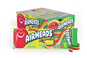 AirHeads Xtremes Belts Sweetly Sour Candy, Rainbow Berry, Non Melting, Bulk Party Bag, 3 oz (Pack of 12)