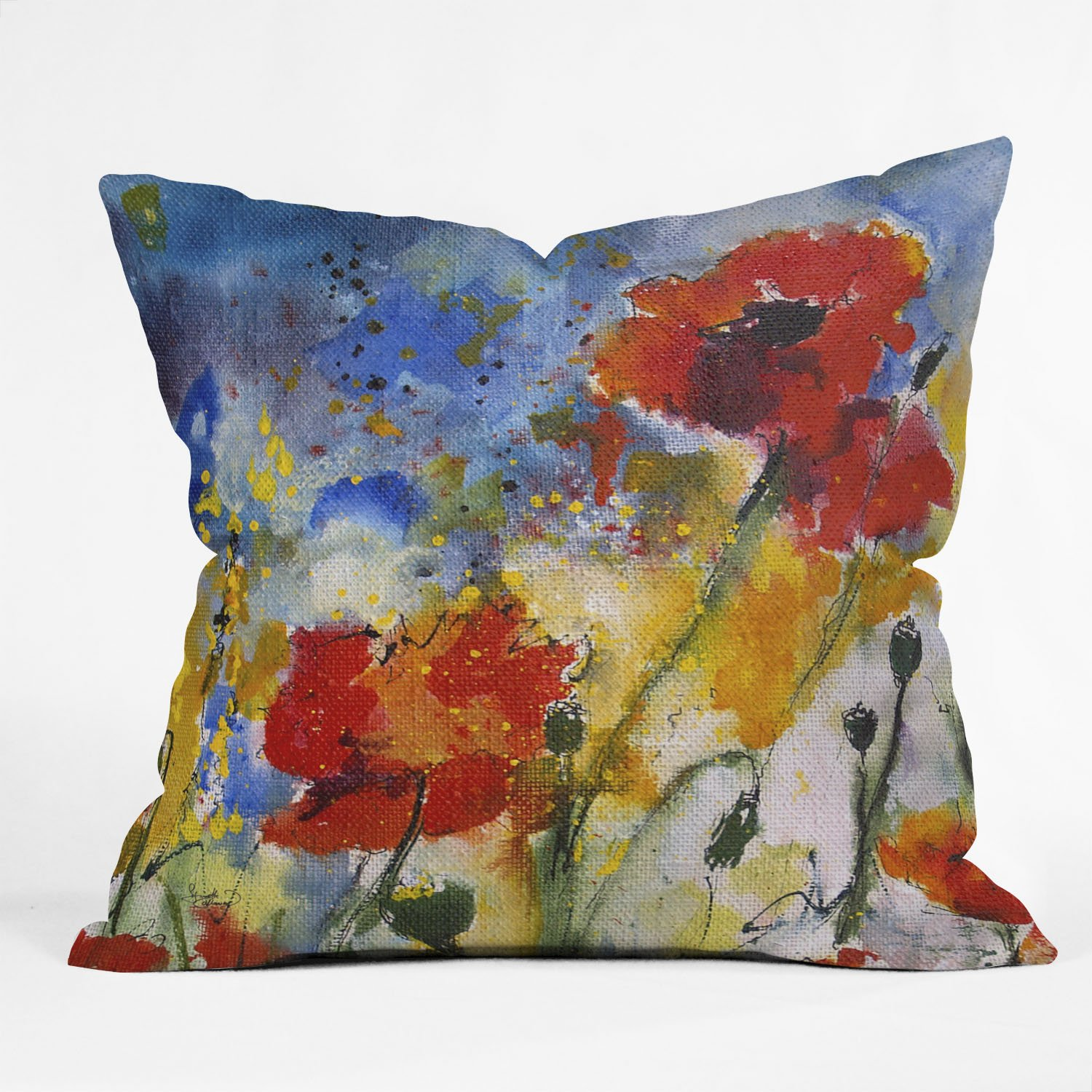 Deny Designs Ginette Fine Art Wildflowers Poppies 2 Throw Pillow, 16 x 16