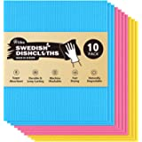 AIDEA Swedish Dish Cloths - Pack of 10, Absorbent Friendly Reusable Hand Towels Cleaning Dish Cloths, Swedish Dishcloths for
