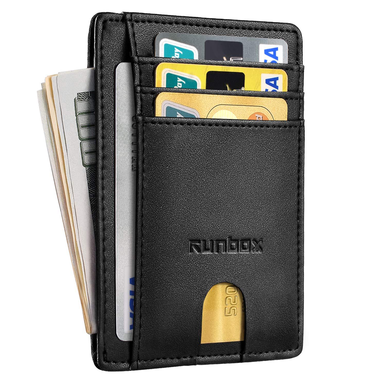 RFID Blocking Front Pocket Wallet Genuine Leather Minimalist Slim Wallet ID//Credit Card Holder For Men and Women