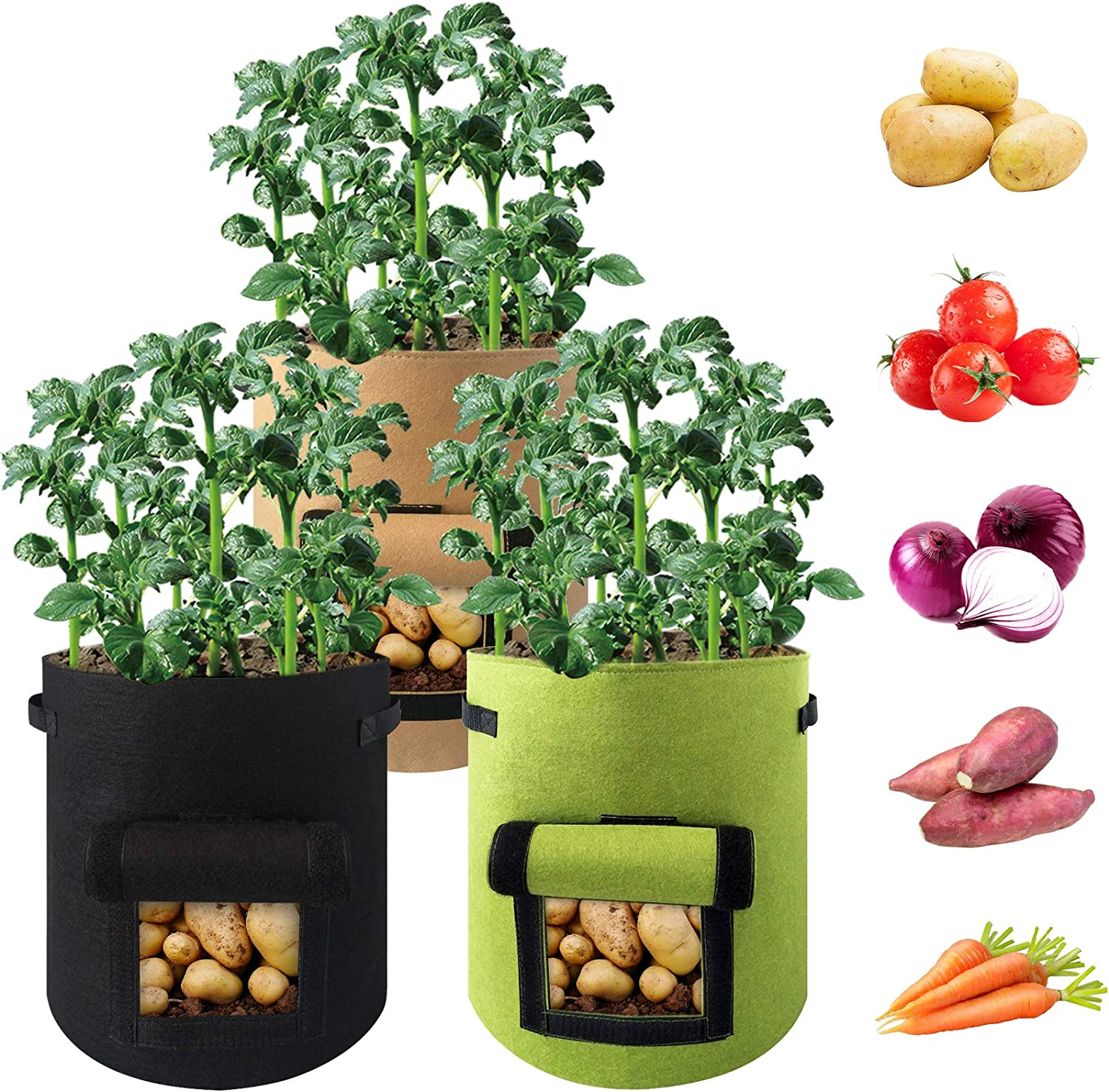 3 Pack 5 Gallon Potato Grow Bags Breathable Heavy Duty Nonwoven Vegetables Planter Pot Double Layer Aeration Fabric Plant Growing Container with Access Flap & Durable Handles for Garden Patio Balcony