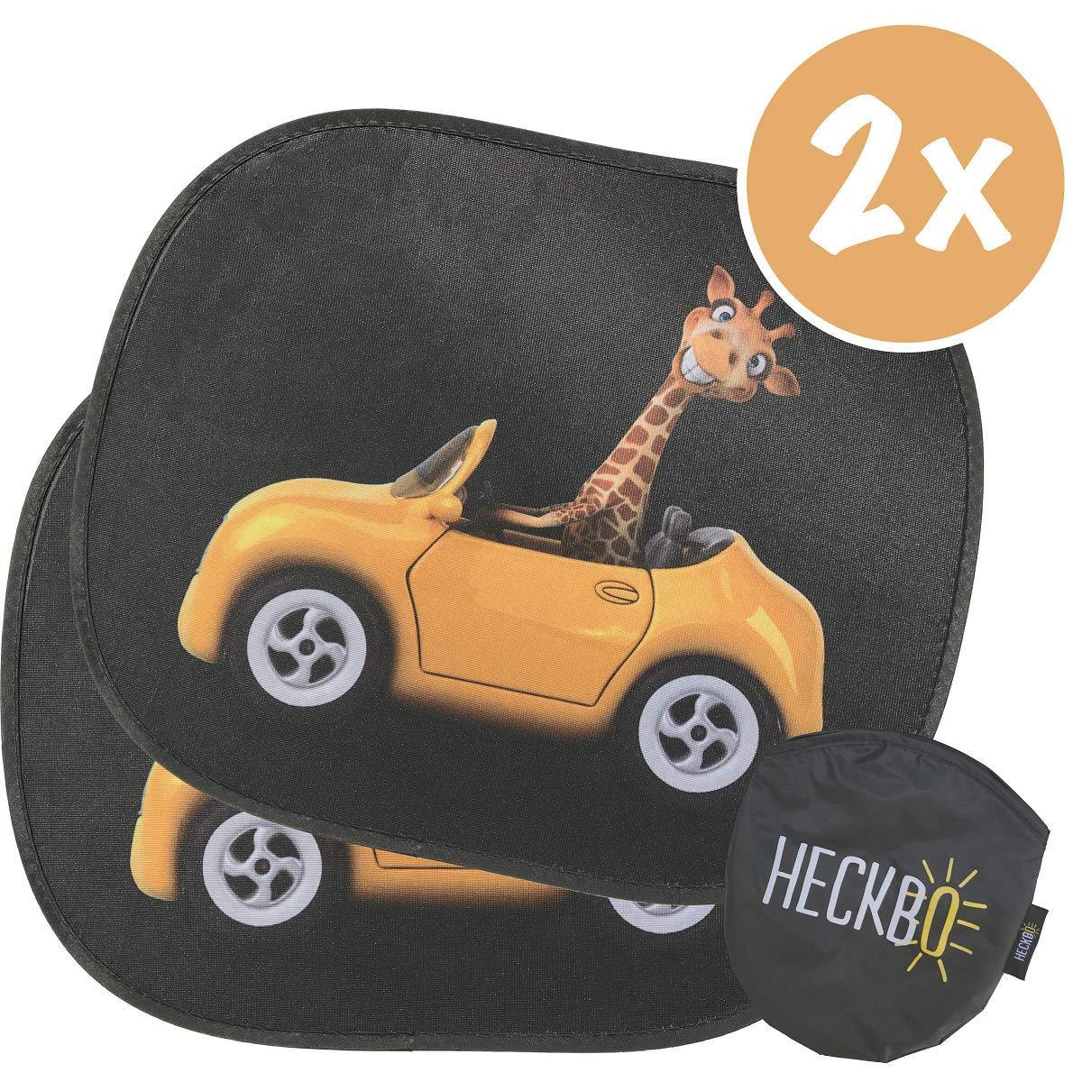 Heckbo Selbsthaftende Auto Sonnenblende Autosonnenschutz Für Kinder 2 Stück Motiv Lustige Giraffe Im Auto Autofenster Sonnenschutz 44x36cm Inkl Gratis Tasche Baby