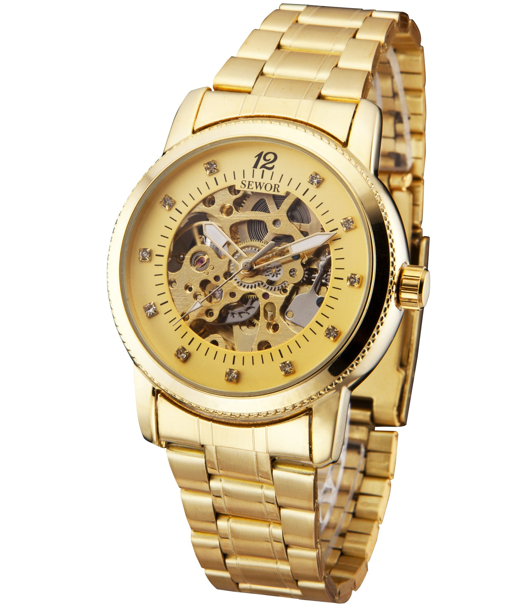 SEWOR Men\'s Mechanical Skeleton Business Steel Band Dress Diamonds Analog Watch (Gold)