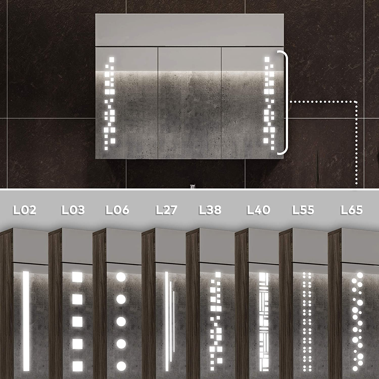 Larghezza 66 cm /& Altezza 72 cm Armadietto da Bagno con Specchio e Illuminazione LED