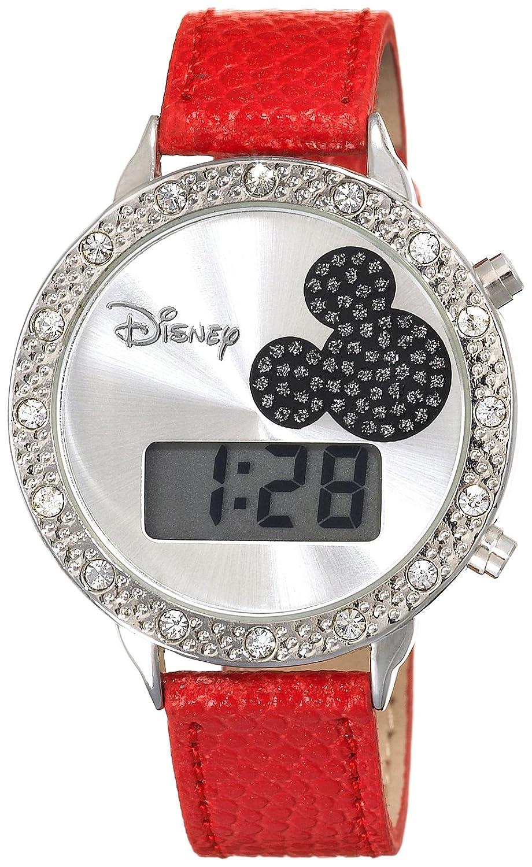 Disney Women s MK1038 Mickey Mouse Digital Silver Dial Red Lizard Watch