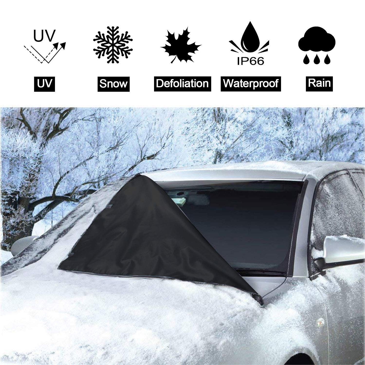 Windscreen Snow & Sun Shade Cover - Universal Wind Screen Frost and Auto Ice Protector Wiper Protector For All Weather- Light weighted Material - 150 x 70 cm, Easy to Accommodate East Eagle Technology