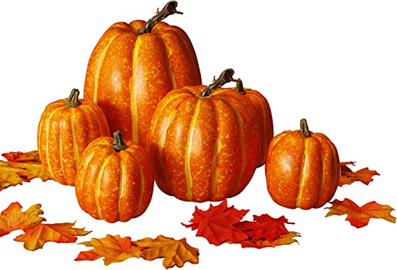 Amazon.com: winemana Thanksgiving Artificial Pumpkin Decoration, Realistic Foam Yellow Pumpkin with 100 pcs Maple Leaves Made of Cloth, Suitable for Fall Harvest, Thanksgiving Party Indoor and Outdoor Decoration: Home & Kitchen