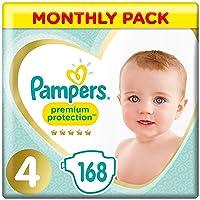 Pampers Premium Protection Size 4, 168 Pannolini, Pampers 'Softest Comfort, consigliati da British Skin Foundation, 9-14 kg