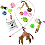 Best Value Cat Toys Variety Bundle Pack with Wand, 16 Fun Cat Toys