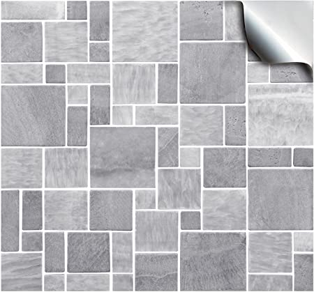 30 light grey self adhesive mosaic wall tile decals for 150mm 6