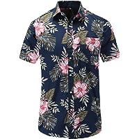 JEETOO Mens Hawaiian Shirts Cotton Short Sleeve Floral Shirts