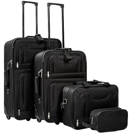 TecTake Set di 4 valigie tessuto trolley da viaggio semirigido bagaglio a  mano borsa con ruote 8ebf6ad2e8b