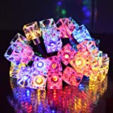Outdoor String Lights 30led Solar Lights 21ft Ice Cubes Lights Waterproof 2modes Color String Lights Gardens/Lawn/Patio/Christmas Trees/Weddings/Parties/Outdoor Decorative Lighting