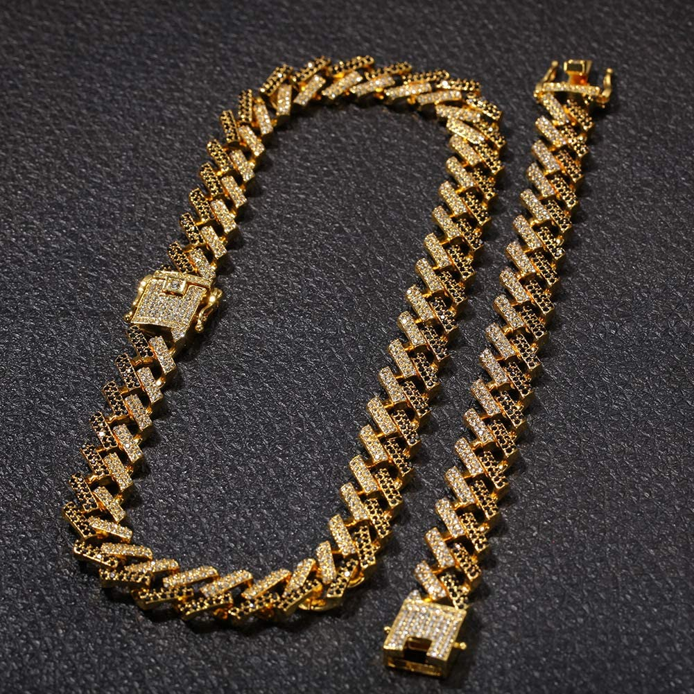 Rap Jewelry Mens 15mm Strip Cuban Chain Exaggerated Personality Imitation Gold Color Diamond Hip hop Necklace Gold, Silver, Gold Blue, Silver Blue, Gold Black, Silver Black ,Jewelry,Gift