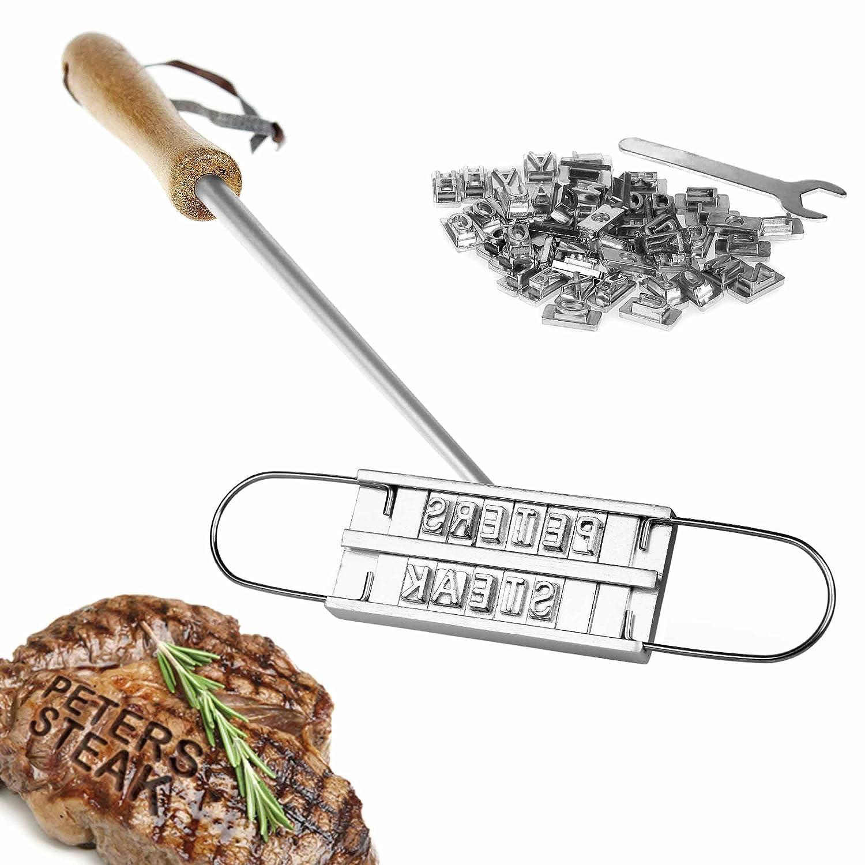 Marcador de carne para la barbacoa con letras intercambiables y caja de madera - El herramiento para marcar carne de Crazy Kitchen - Utensilios de barbacoa ...