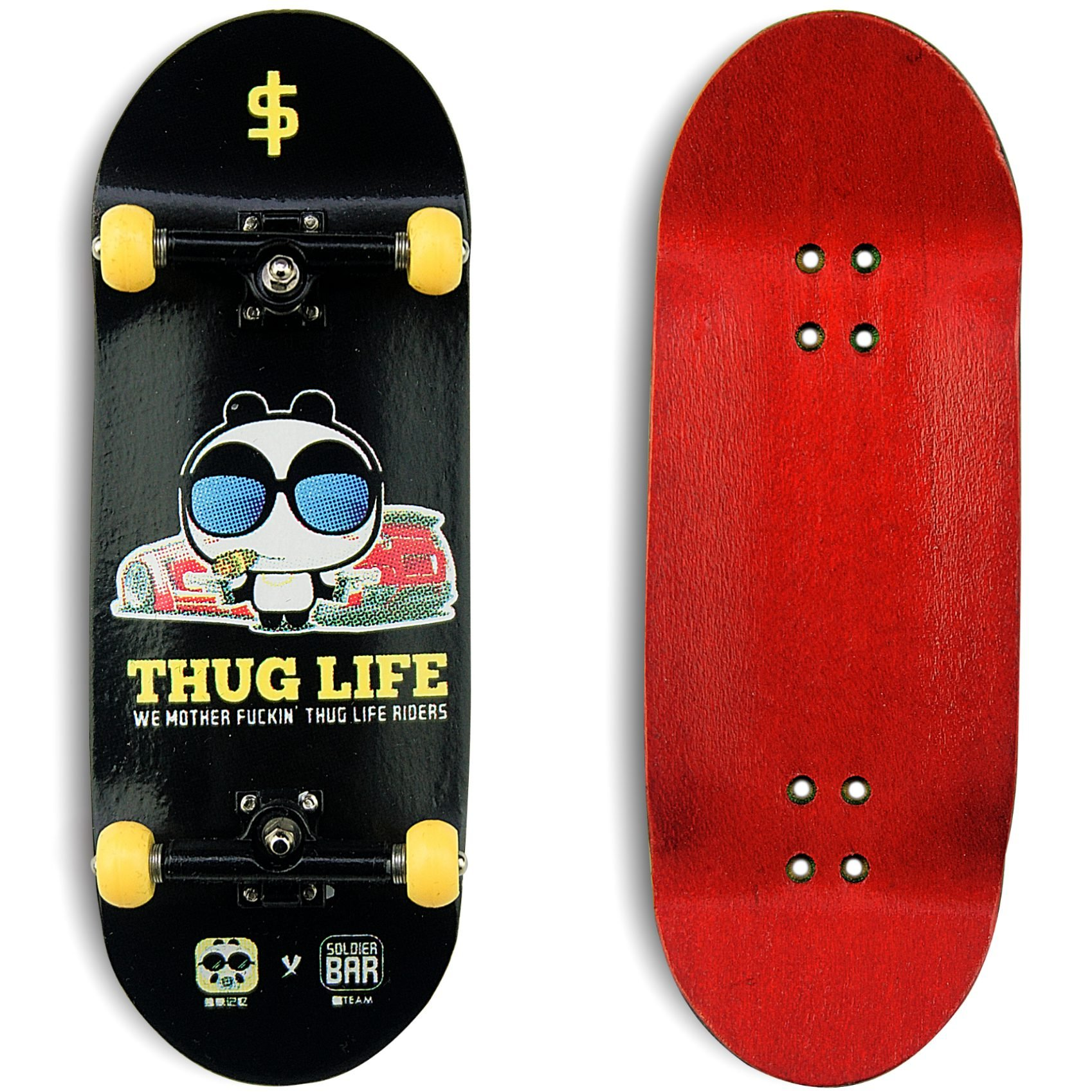 SOLDIERBAR FAN Team 9.0 Wooden Fingerboards (Deck,Truck,Wheel Set) Thug Life
