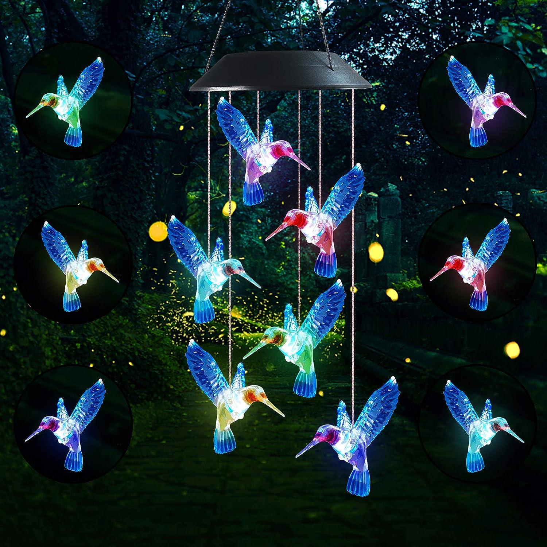 Famiry Solar Hummingbird Wind Chimes for Outside, Wind Chimes Colors Changing Six Hummingbird Waterproof LED Solar Light, Outdoor Decor for Garden, Patio, Yard, Home (Blue Hummingbird)