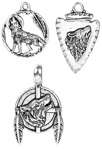 b6a599d899 Wolf Charms 60 Pack, Native American Inspired DIY Jewelry or Crafts  Wholesale Lot