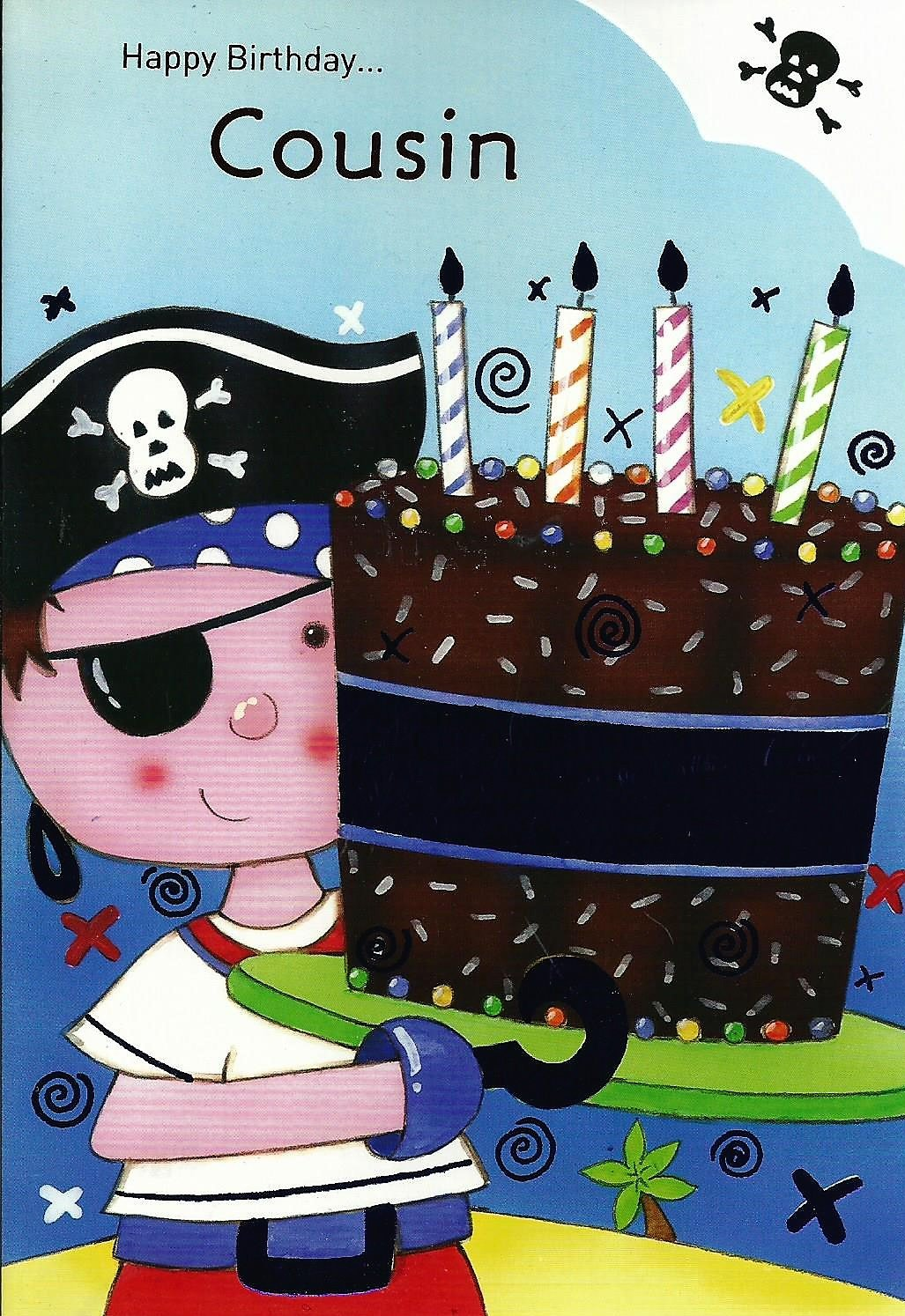 Birthday Card Happy Birthdayusin Pirate Holding Birthday