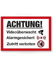 vidéo via dessinée/alarme surveillance Plaque–Attention/Vorsicht Video Surveillance Panneau–Panneau d'avertissement/Plaque signalétique vidéo via dessinée–Panneau d'avertissement/avertissement