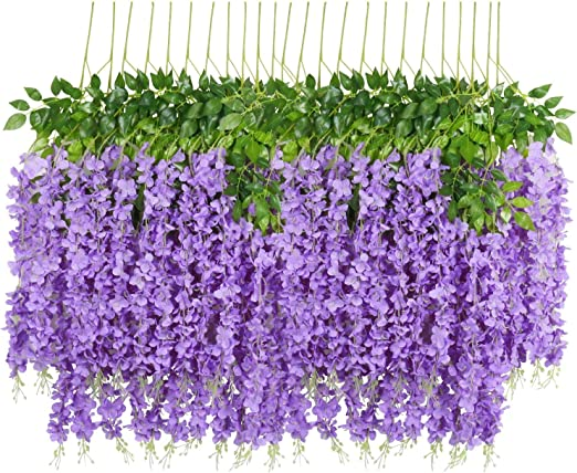 Veryhome 12PCS//Lot 3.6feet//piece Artificial Flowers Fake Wisteria Vine Silk Flower for Wedding Decorations Home Garden Party Decor Rose Red
