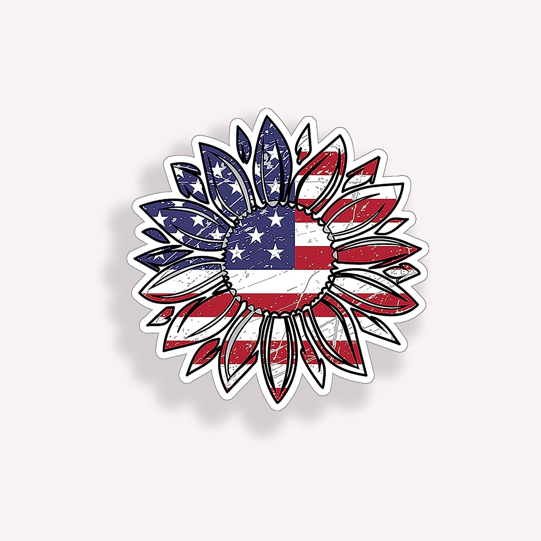 USA American Flag Sunflower Sticker Cup Laptop Cooler Flower car Vehicle Window Bumper Wall Vinyl Decal Graphic