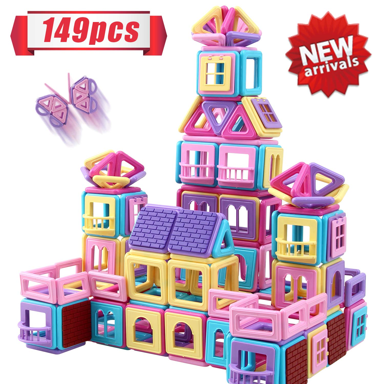 HOMOFY 149PCS Castle Magnetic Blocks for Boys Girls Kids -3D Macaron Colors Learning & Development Building Blocks Toys for 3 4 5 6 7 Year Old Boys Girls Gifts by HOMOFY