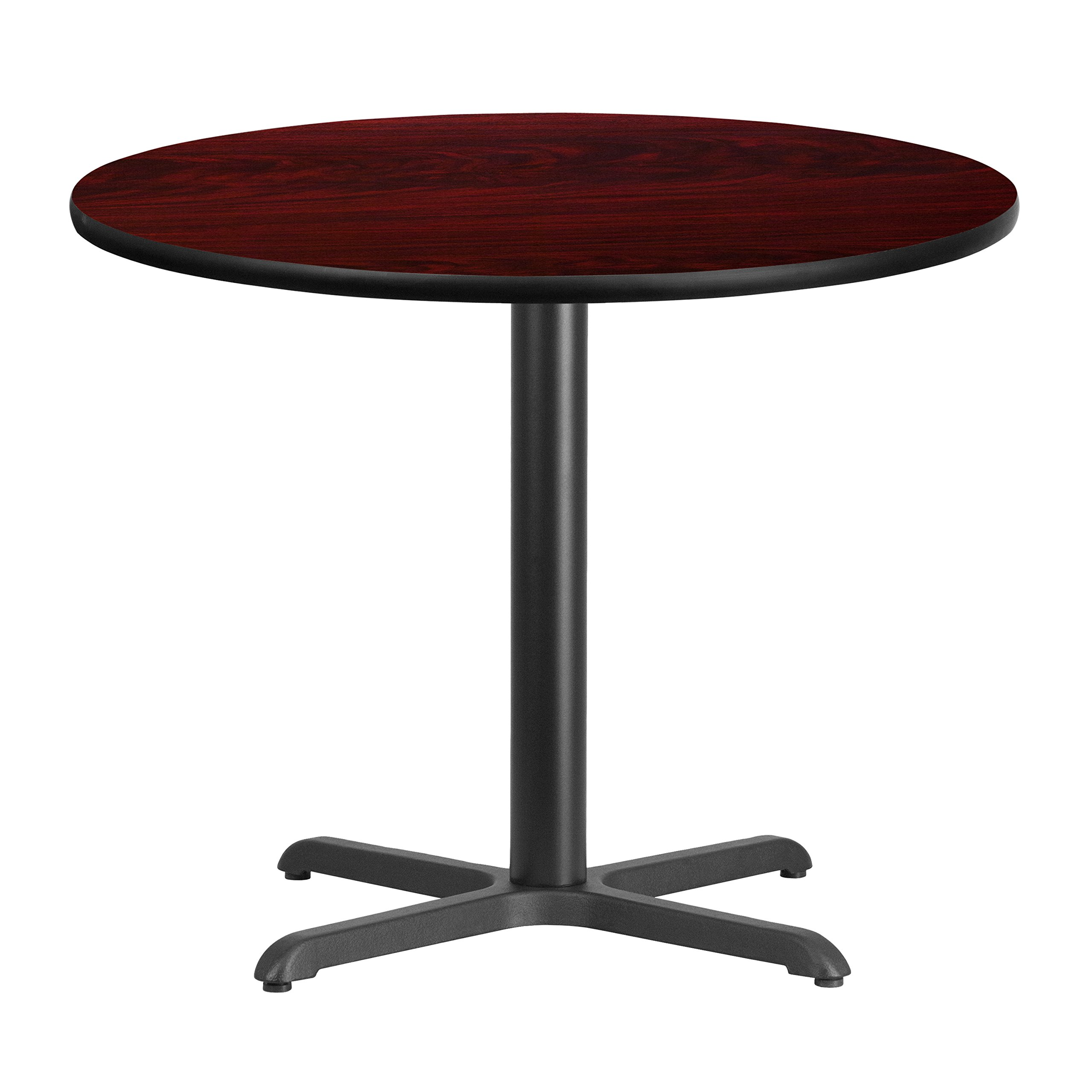 36'' Round Mahogany Laminate Table Top with 30'' x 30'' Table Height Base by Flash Furniture (Image #2)