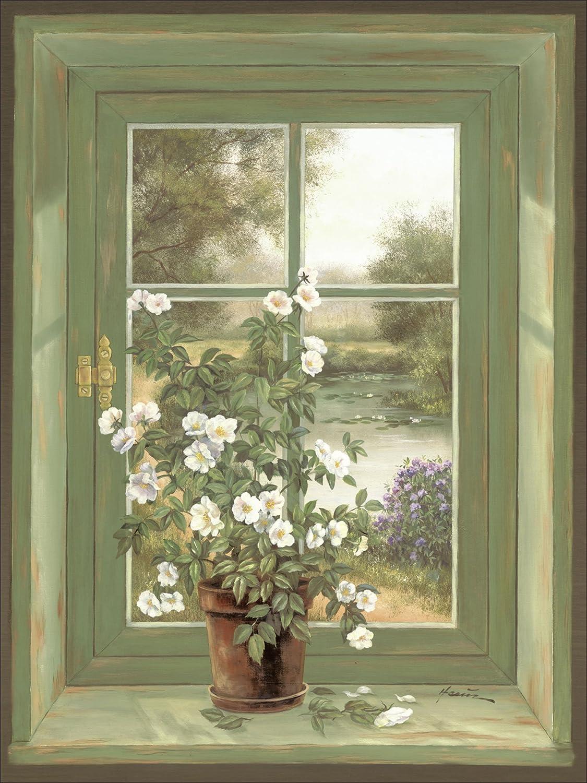 Artland Qualitätsbilder I Bild auf Leinwand Leinwandbilder Wandbilder 60 x 80 cm Stillleben Arrangements Botanik Malerei Grün A6ZK Wildrosen am Fenster