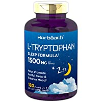 Horbaach L Tryptophan 1500mg Capsules | 180 Count | Extra Strength | Non-GMO, Gluten Free Supplement
