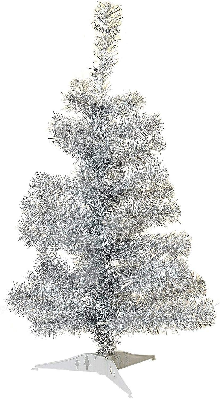 Arbre de Noël avec le stand 2ft Argent artificielle Pin traditionnel de Noël