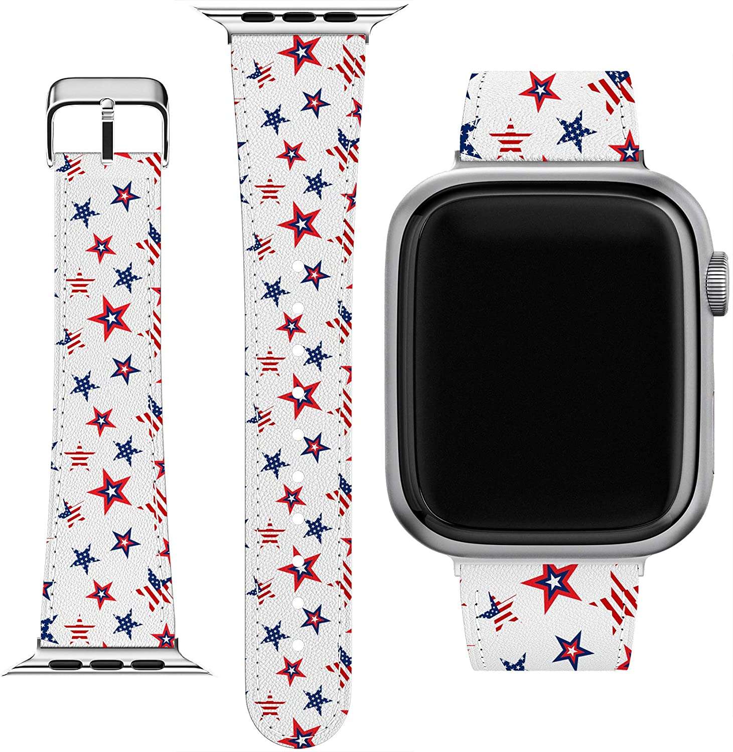 Cavka Wrist Band Replacement for Apple Watch Series 1/2/3/4/5/6/SE Bracelet USA Top Cute Stars Design American Replacement Strap 38-40-42-44 mm Printed Trend Patriotic Slim fit Flag Pattern PU Leather