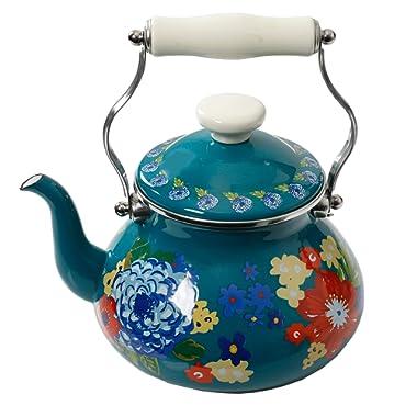 The Pioneer Woman Floral Dazzling Dahlias 2-Quart Tea Kettle, Steel with Enamel Finish,