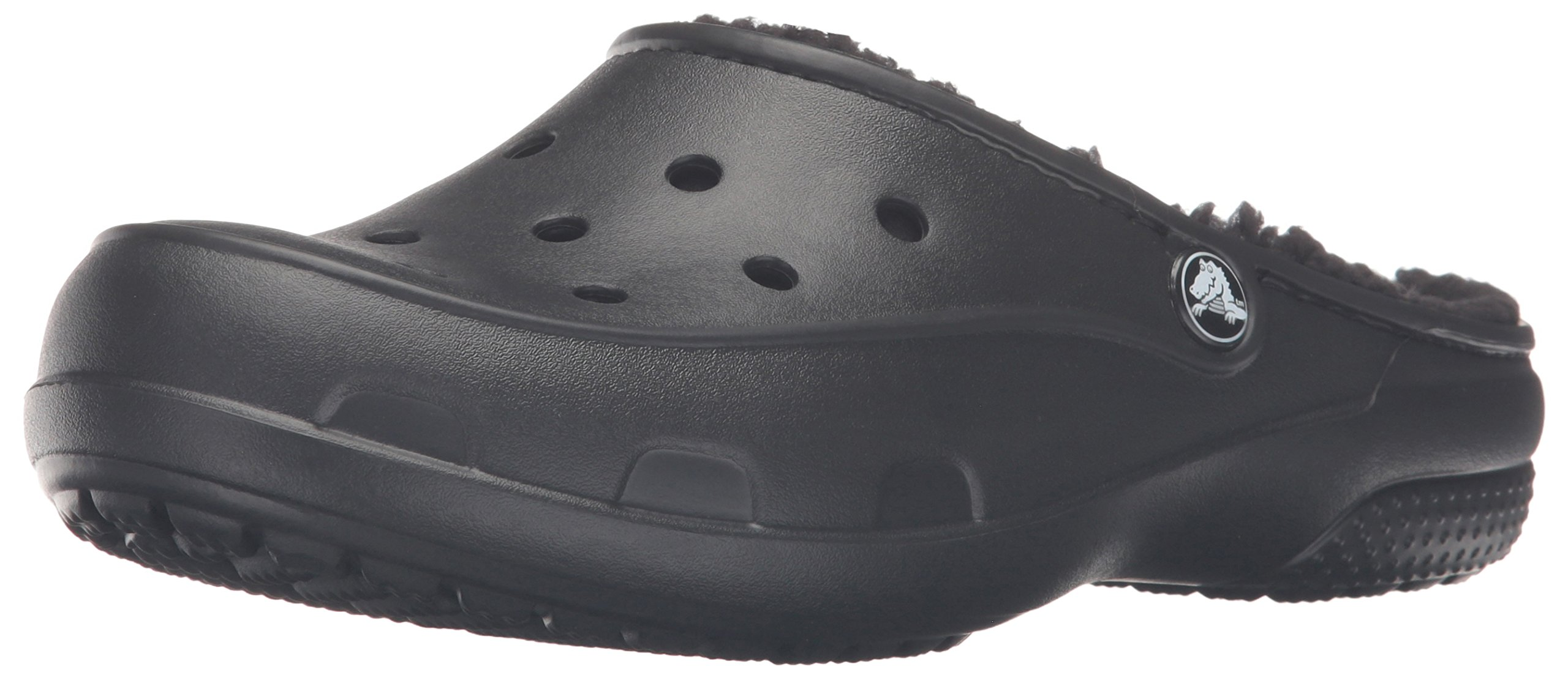 crocs Women's Freesail Plush Lined Clog Mule, Black/Black, 7 M US