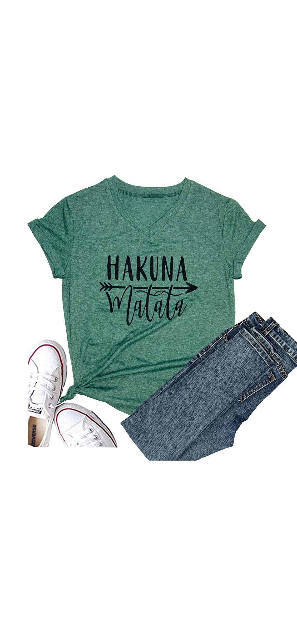 Women's Hakuna Matata Shirt Short Sleeve Graphic Tees Funny Love