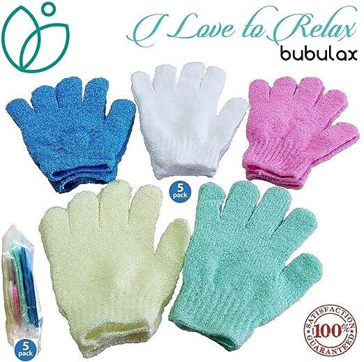 Amazon.com: Exfoliating Gloves For Body By Bubulax 5 Pairs Bulk   10  Gloves, Bath Gloves, 1 White Glove Set, Cellulite Scrubber, Shower Gloves,  Reduce Acne ...