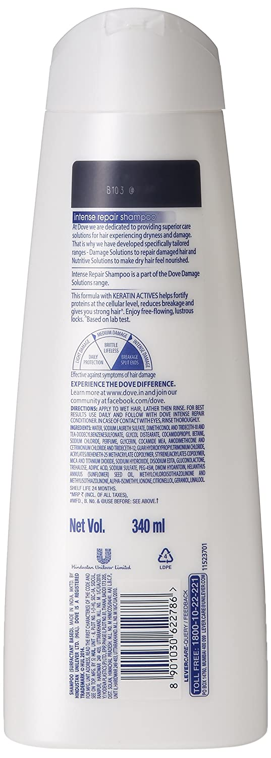 Buy Dove Intense Repair Shampoo 340ml With Free Clear Complete Soft Care Men 340 Ml 80ml Online At Low Prices In India